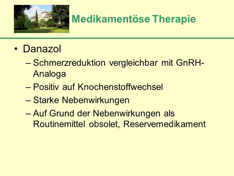 Medikamentöse Therapie Danazol –Schmerzreduktion vergleichbar mit GnRH- Analoga –Positiv auf Knochenstoffwechsel –Starke Nebenwirkungen –Auf Grund der