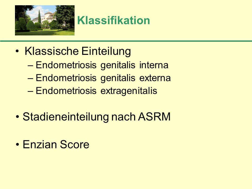 Klassifikation Klassische Einteilung –Endometriosis genitalis interna –Endometriosis genitalis externa –Endometriosis extragenitalis Stadieneinteilung