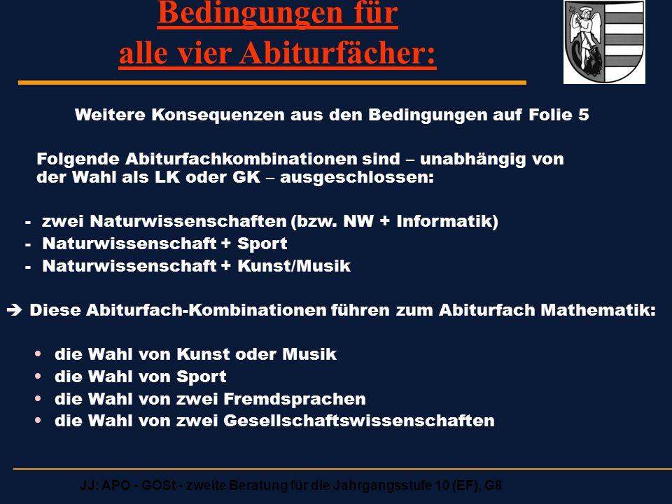 JJ: APO - GOSt - zweite Beratung für die Jahrgangsstufe 10 (EF), G8 Ablauf der Kurswahlen für das kommende Schuljahr (3) Wir bitten SchülerInnen, die einen der beiden Lks Deutsch, Englisch wählen (mit beliebigem 2.