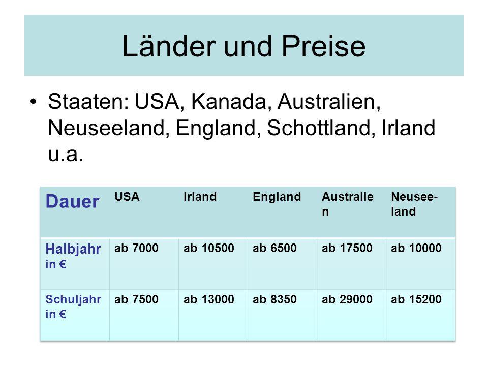 Staaten: USA, Kanada, Australien, Neuseeland, England, Schottland, Irland u.a. Länder und Preise