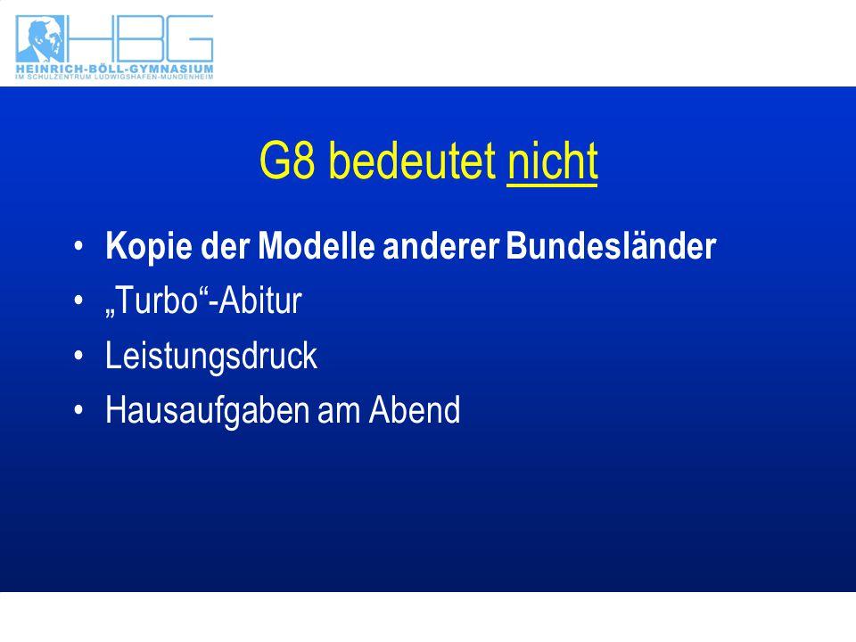 """G8 bedeutet nicht Kopie der Modelle anderer Bundesländer """"Turbo""""-Abitur Leistungsdruck Hausaufgaben am Abend"""