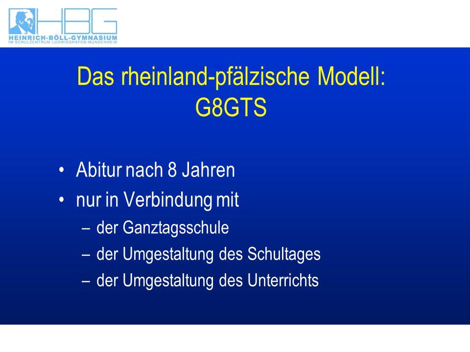 Das rheinland-pfälzische Modell: G8GTS Abitur nach 8 Jahren nur in Verbindung mit –der Ganztagsschule –der Umgestaltung des Schultages –der Umgestaltu