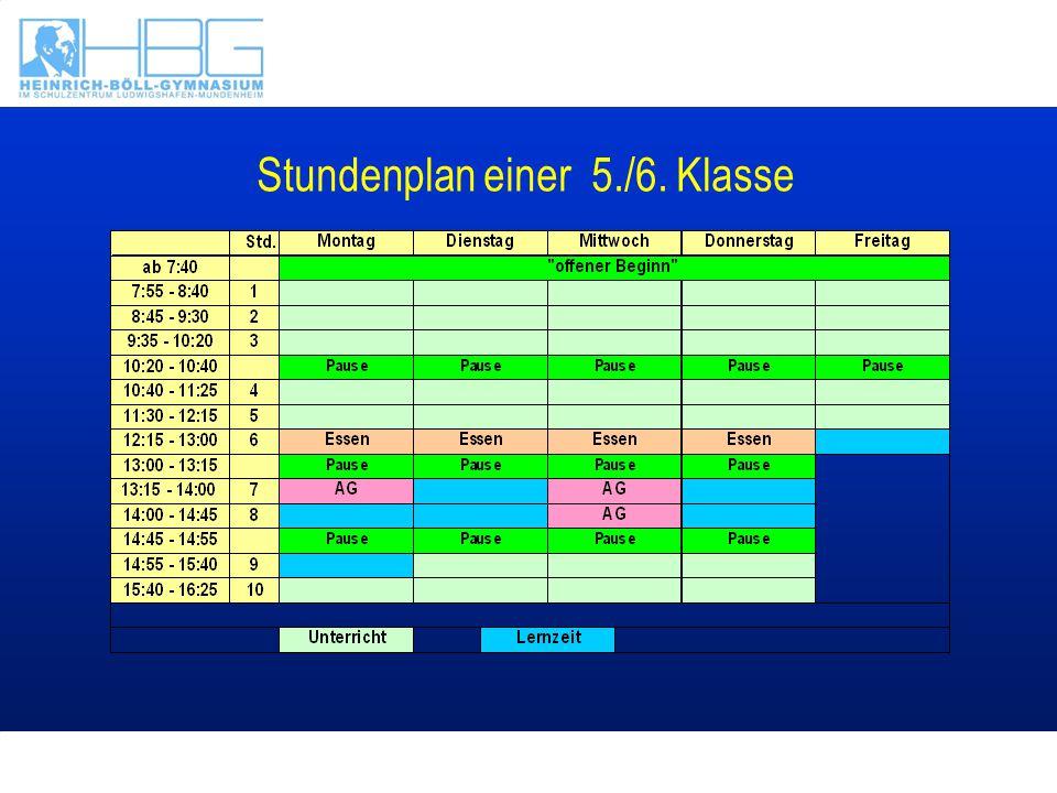 Stundenplan einer 5./6. Klasse