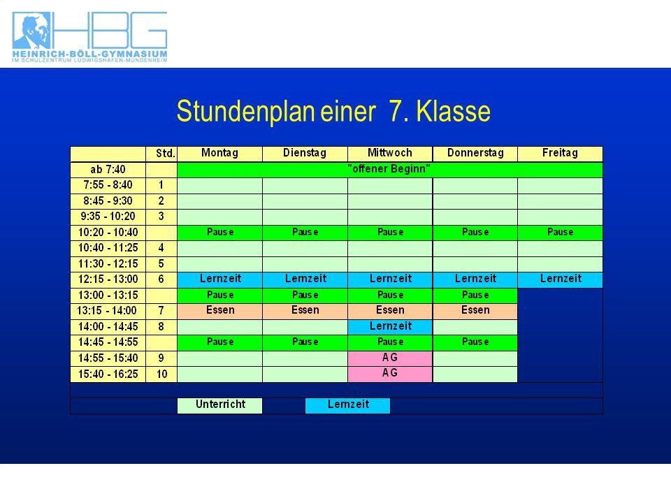 Stundenplan einer 7. Klasse