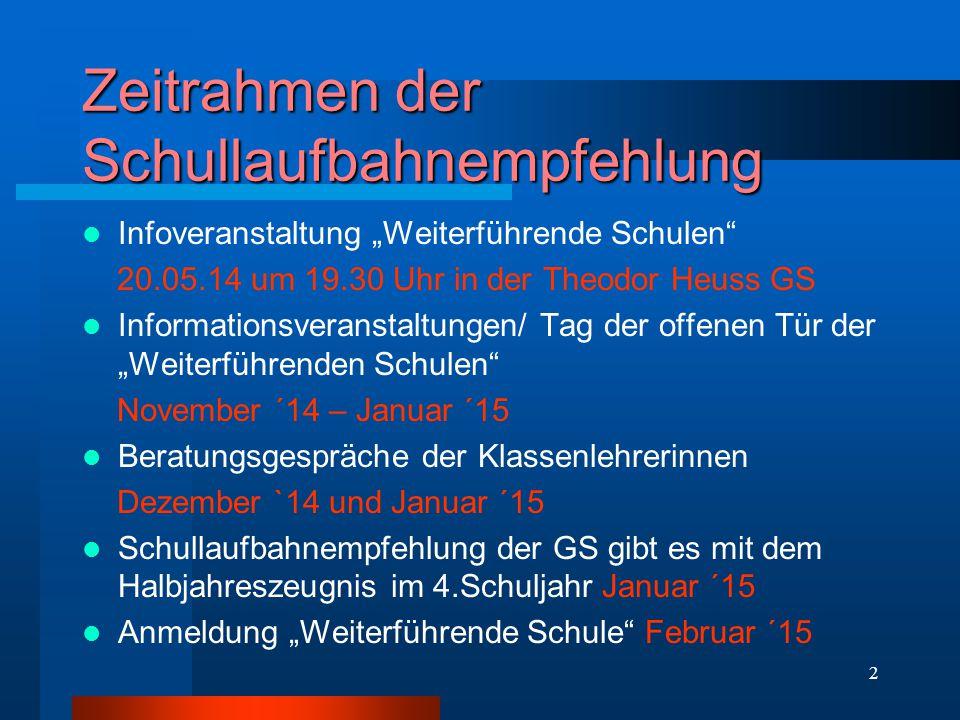 """2 Zeitrahmen der Schullaufbahnempfehlung Infoveranstaltung """"Weiterführende Schulen"""" 20.05.14 um 19.30 Uhr in der Theodor Heuss GS Informationsveransta"""