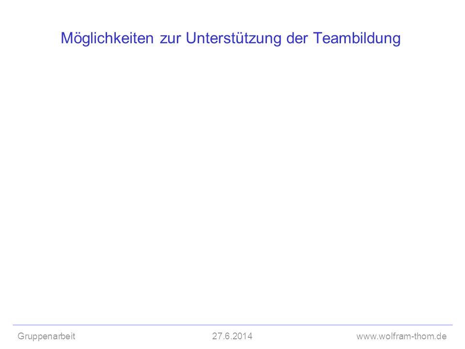 Gruppenarbeit27.6.2014www.wolfram-thom.de Möglichkeiten zur Unterstützung der Teambildung
