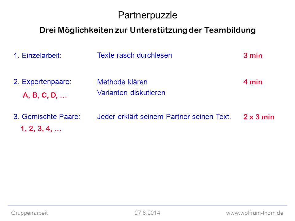 Gruppenarbeit27.6.2014www.wolfram-thom.de Drei Möglichkeiten zur Unterstützung der Teambildung 1. Einzelarbeit: 2. Expertenpaare: 3. Gemischte Paare: