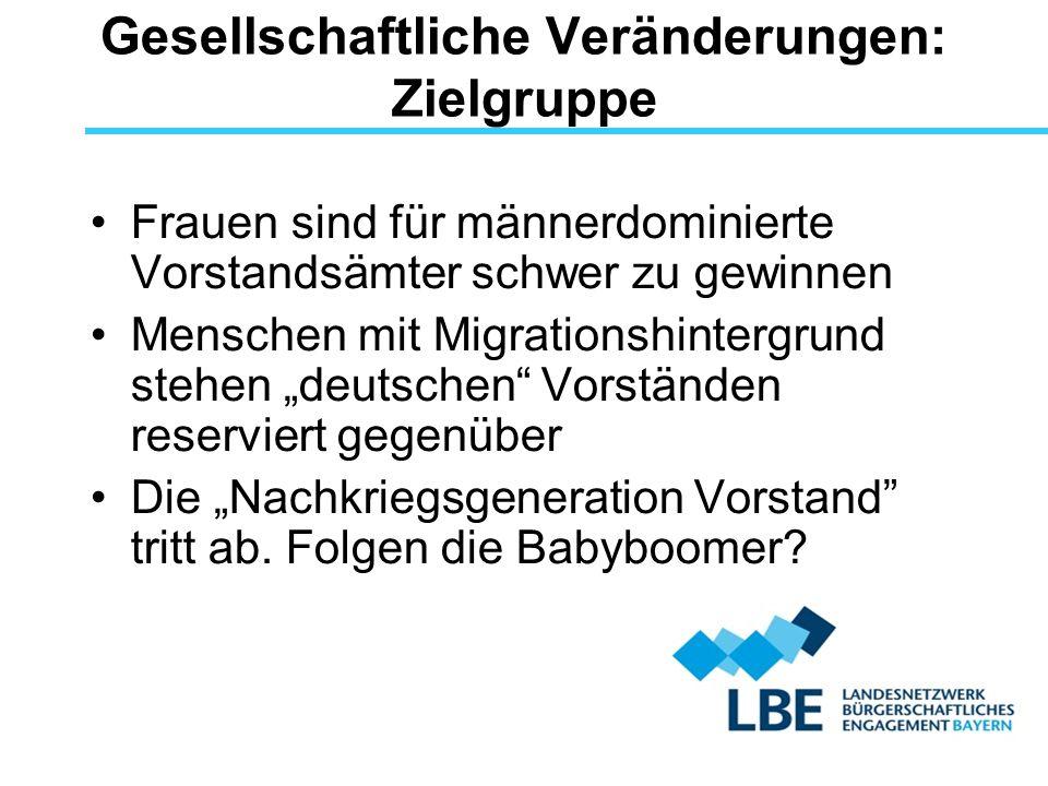 """Gesellschaftliche Veränderungen: Zielgruppe Frauen sind für männerdominierte Vorstandsämter schwer zu gewinnen Menschen mit Migrationshintergrund stehen """"deutschen Vorständen reserviert gegenüber Die """"Nachkriegsgeneration Vorstand tritt ab."""