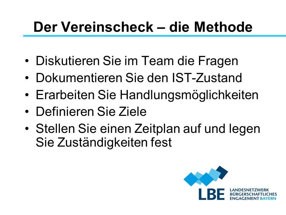 Der Vereinscheck – die Methode Diskutieren Sie im Team die Fragen Dokumentieren Sie den IST-Zustand Erarbeiten Sie Handlungsmöglichkeiten Definieren S
