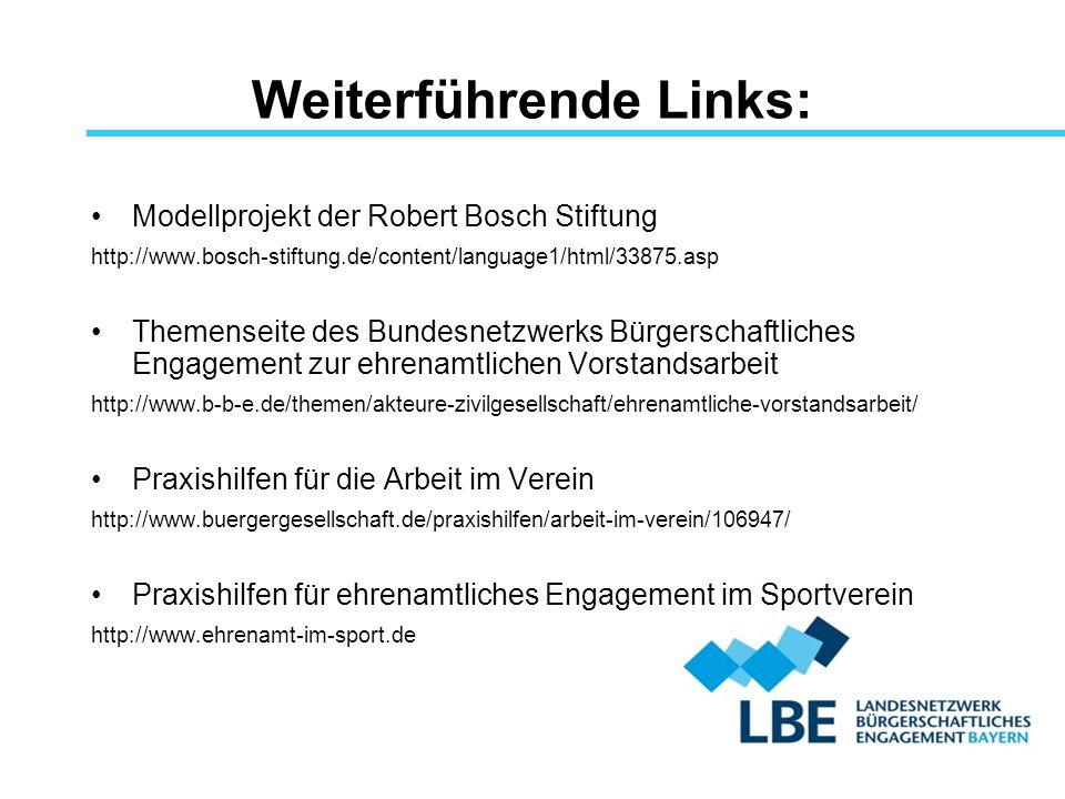 Weiterführende Links: Modellprojekt der Robert Bosch Stiftung http://www.bosch-stiftung.de/content/language1/html/33875.asp Themenseite des Bundesnetz