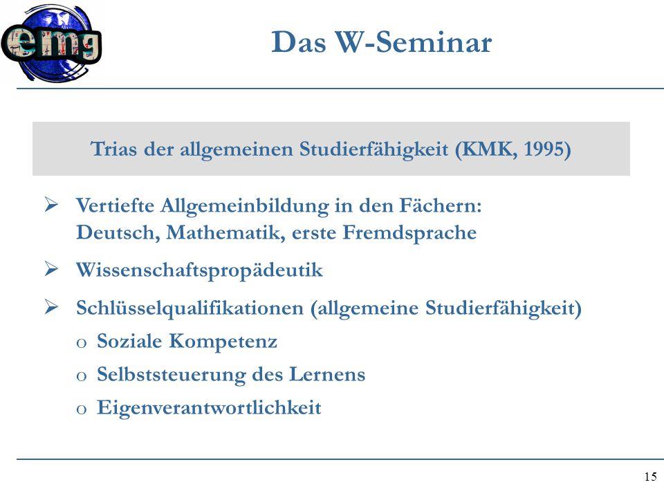 15 Das W-Seminar Trias der allgemeinen Studierfähigkeit (KMK, 1995)  Vertiefte Allgemeinbildung in den Fächern: Deutsch, Mathematik, erste Fremdsprac