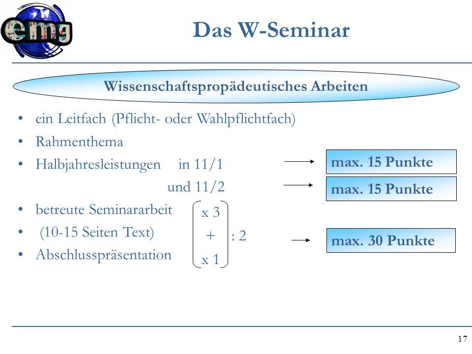 17 Das W-Seminar ein Leitfach (Pflicht- oder Wahlpflichtfach) Rahmenthema Halbjahresleistungen in 11/1 und 11/2 betreute Seminararbeit (10-15 Seiten T