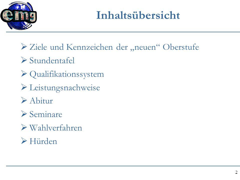 """2 Inhaltsübersicht  Ziele und Kennzeichen der """"neuen"""" Oberstufe  Stundentafel  Qualifikationssystem  Leistungsnachweise  Abitur  Seminare  Wahl"""
