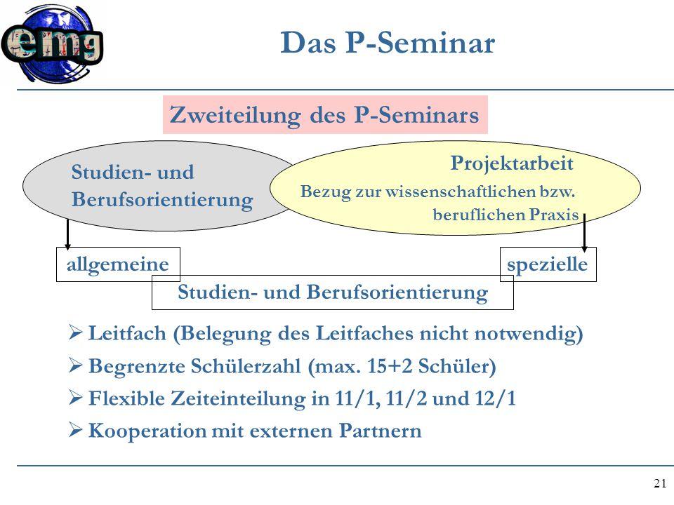 21 Das P-Seminar Studien- und Berufsorientierung Projektarbeit Bezug zur wissenschaftlichen bzw. beruflichen Praxis allgemeinespezielle Studien- und B