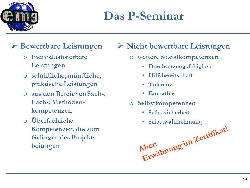 25 Das P-Seminar  Bewertbare Leistungen oIndividualisierbare Leistungen oschriftliche, mündliche, praktische Leistungen oaus den Bereichen Sach-, Fac