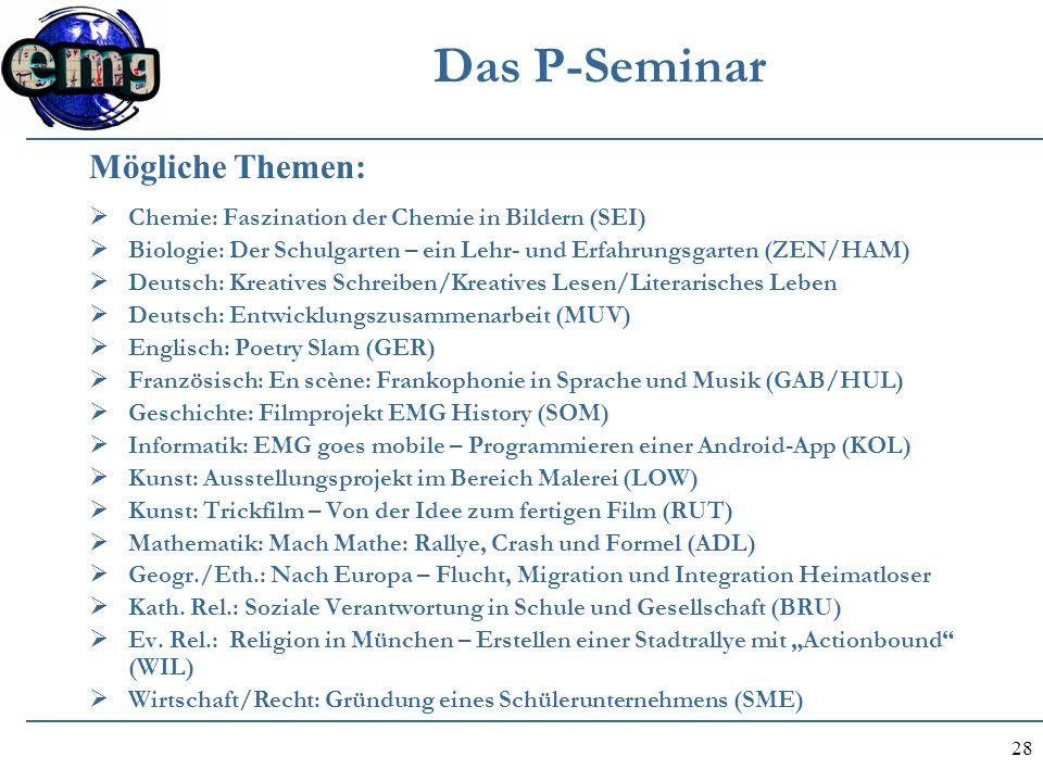 28 Das P-Seminar  Chemie: Faszination der Chemie in Bildern (SEI)  Biologie: Der Schulgarten – ein Lehr- und Erfahrungsgarten (ZEN/HAM)  Deutsch: K
