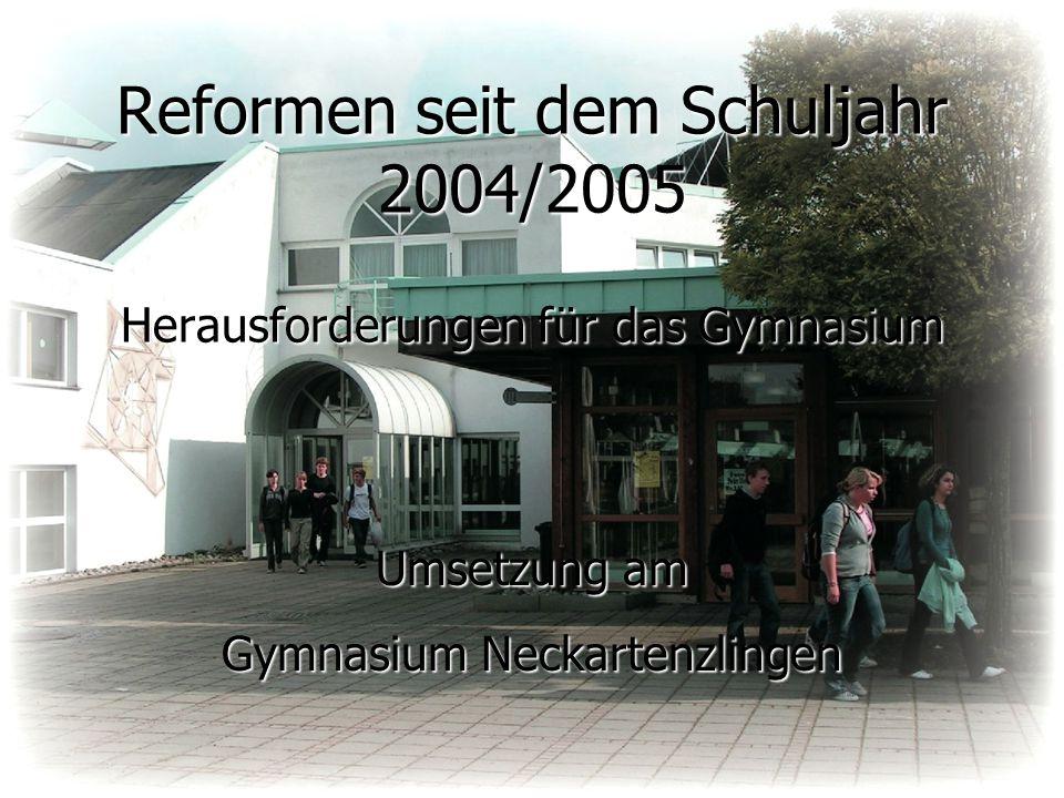 Reformen seit dem Schuljahr 2004/2005 Herausforderungen für das Gymnasium Umsetzung am Gymnasium Neckartenzlingen