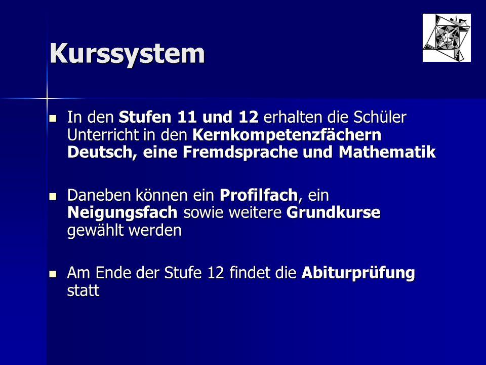 Kurssystem In den Stufen 11 und 12 erhalten die Schüler Unterricht in den Kernkompetenzfächern Deutsch, eine Fremdsprache und Mathematik In den Stufen