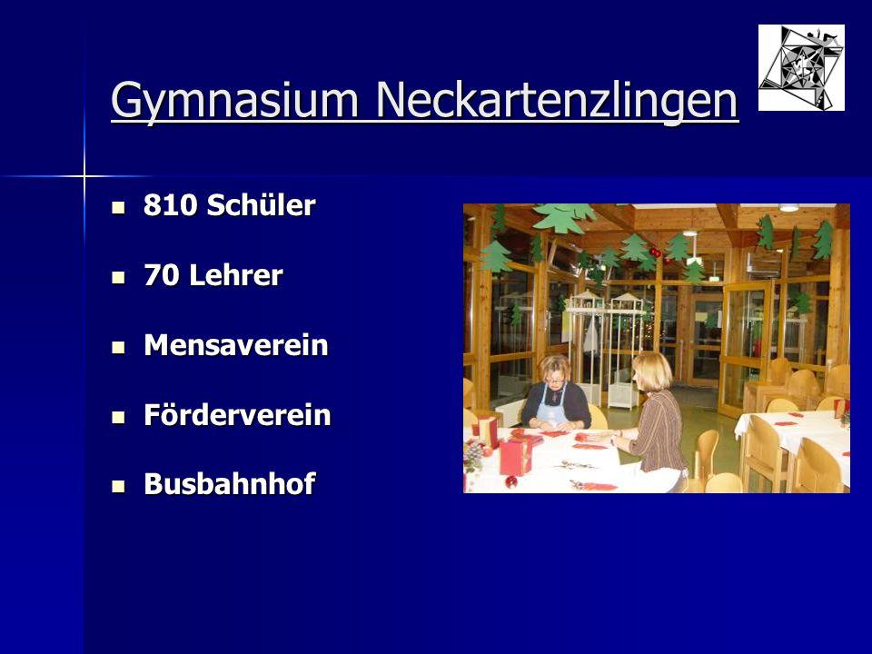 Gymnasium Neckartenzlingen 810 Schüler 810 Schüler 70 Lehrer 70 Lehrer Mensaverein Mensaverein Förderverein Förderverein Busbahnhof Busbahnhof