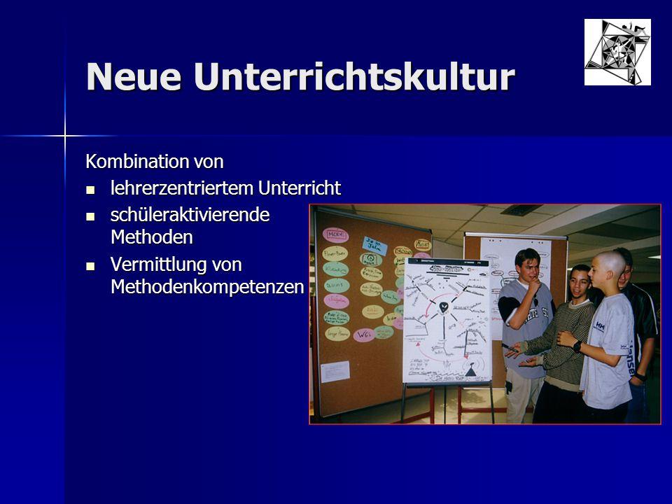 Neue Unterrichtskultur Kombination von lehrerzentriertem Unterricht lehrerzentriertem Unterricht schüleraktivierende Methoden schüleraktivierende Meth