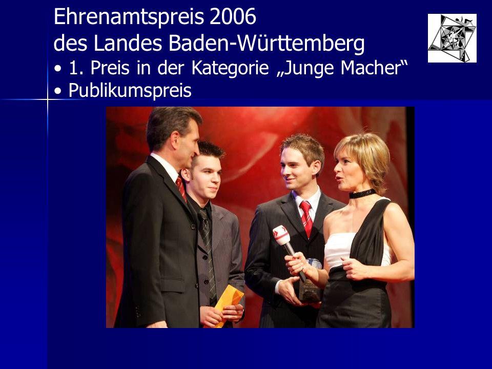 """Ehrenamtspreis 2006 des Landes Baden-Württemberg 1. Preis in der Kategorie """"Junge Macher"""" Publikumspreis"""