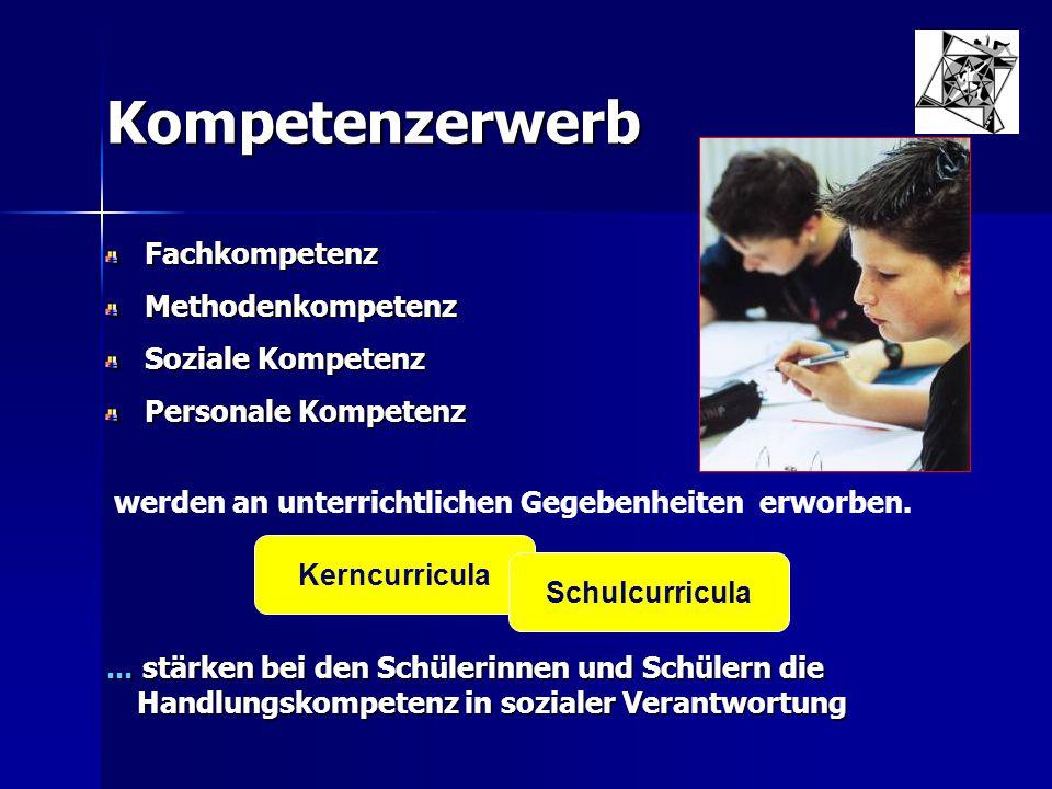 Kompetenzerwerb FachkompetenzMethodenkompetenz Soziale Kompetenz Personale Kompetenz... stärken bei den Schülerinnen und Schülern die Handlungskompete