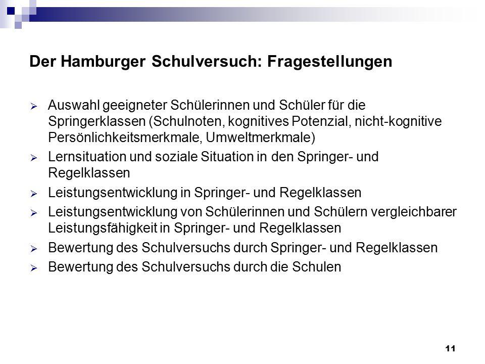 11 Der Hamburger Schulversuch: Fragestellungen  Auswahl geeigneter Schülerinnen und Schüler für die Springerklassen (Schulnoten, kognitives Potenzial