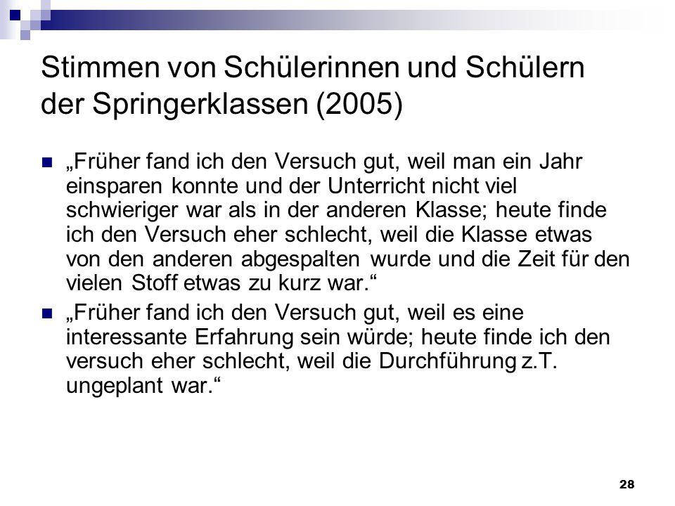"""28 Stimmen von Schülerinnen und Schülern der Springerklassen (2005) """"Früher fand ich den Versuch gut, weil man ein Jahr einsparen konnte und der Unter"""
