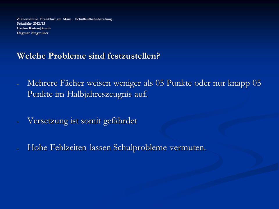 Ziehenschule Frankfurt am Main – Schullaufbahnberatung Schuljahr 2012/13 Carine Kleine-Jänsch Dagmar Stegmüller Welche Probleme sind festzustellen? -