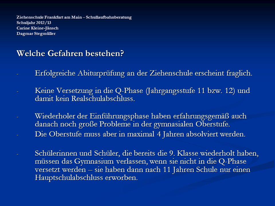 Ziehenschule Frankfurt am Main – Schullaufbahnberatung Schuljahr 2012/13 Carine Kleine-Jänsch Dagmar Stegmüller Welche Gefahren bestehen? - Erfolgreic
