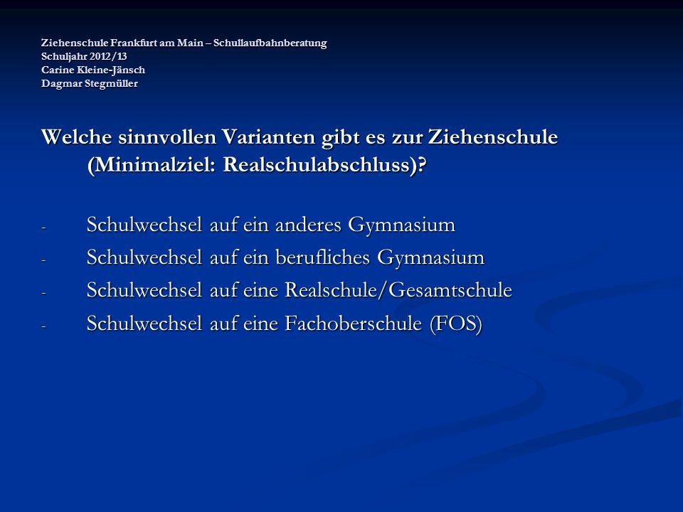 Ziehenschule Frankfurt am Main – Schullaufbahnberatung Schuljahr 2012/13 Carine Kleine-Jänsch Dagmar Stegmüller Probleme der Varianten.