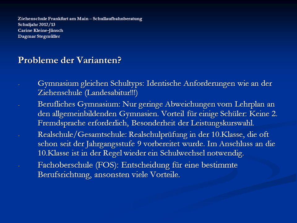 Ziehenschule Frankfurt am Main – Schullaufbahnberatung Schuljahr 2012/13 Carine Kleine-Jänsch Dagmar Stegmüller Probleme der Varianten? - Gymnasium gl