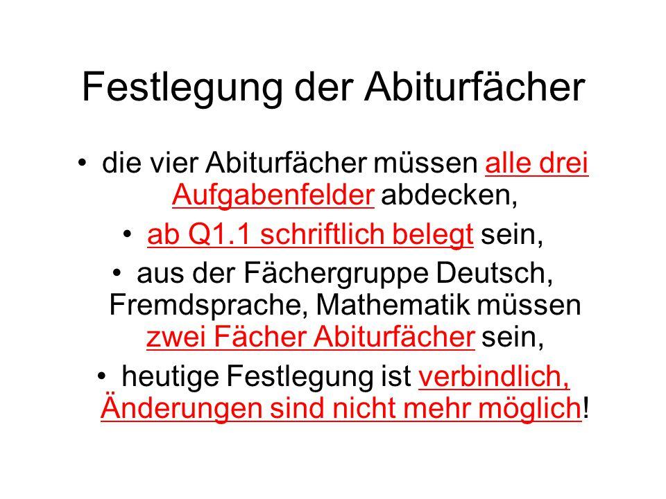 Festlegung der Abiturfächer die vier Abiturfächer müssen alle drei Aufgabenfelder abdecken, ab Q1.1 schriftlich belegt sein, aus der Fächergruppe Deut
