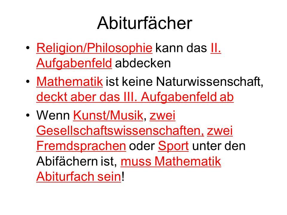 Abiturfächer Religion/Philosophie kann das II. Aufgabenfeld abdecken Mathematik ist keine Naturwissenschaft, deckt aber das III. Aufgabenfeld ab Wenn