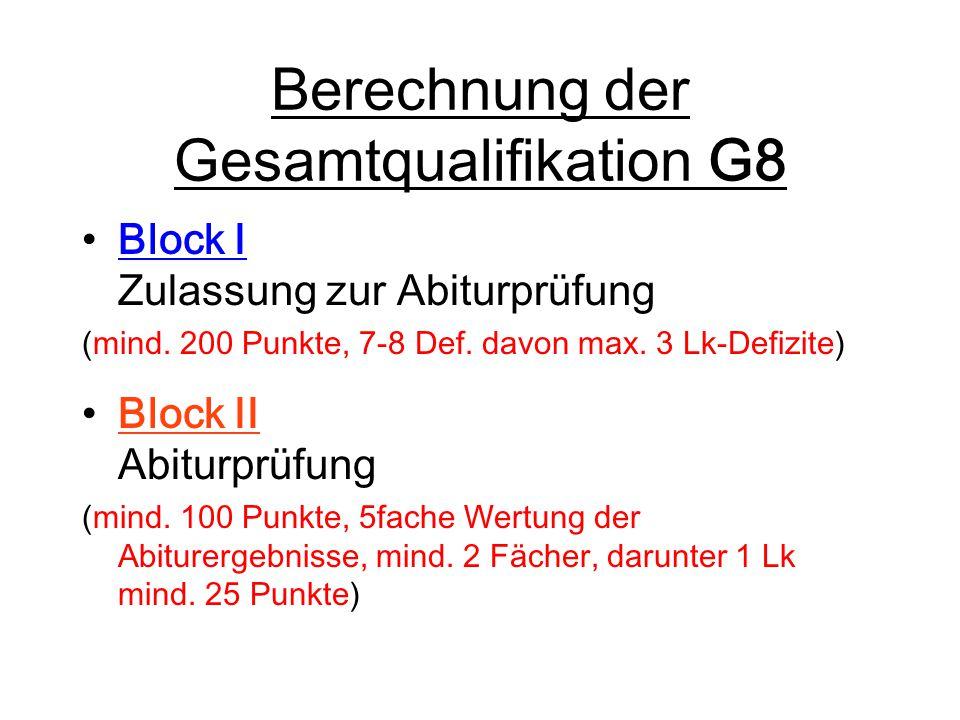 Berechnung der Gesamtqualifikation G8 Block I Zulassung zur Abiturprüfung (mind. 200 Punkte, 7-8 Def. davon max. 3 Lk-Defizite) Block II Abiturprüfung