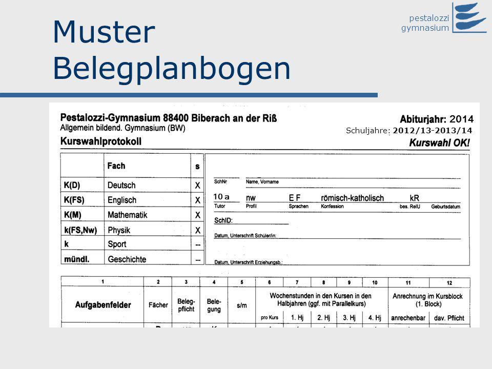 pestalozzi gymnasium Muster Belegplanbogen 2014 Schuljahre: 2012/13-2013/14 10 a