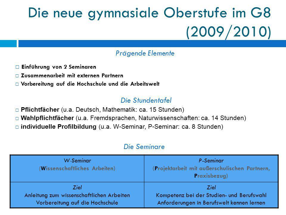 Die neue gymnasiale Oberstufe im G8 (2009/2010) Prägende Elemente □ Einführung von 2 Seminaren □ Zusammenarbeit mit externen Partnern □ Vorbereitung a