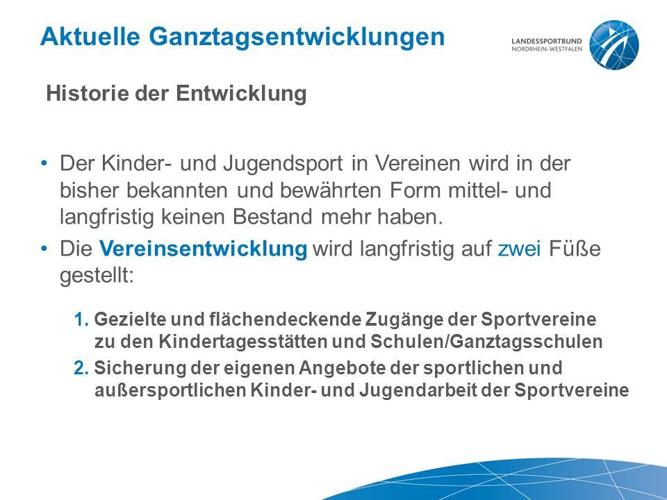 Aktuelle Ganztagsentwicklungen Historie der Entwicklung Der Kinder- und Jugendsport in Vereinen wird in der bisher bekannten und bewährten Form mittel- und langfristig keinen Bestand mehr haben.