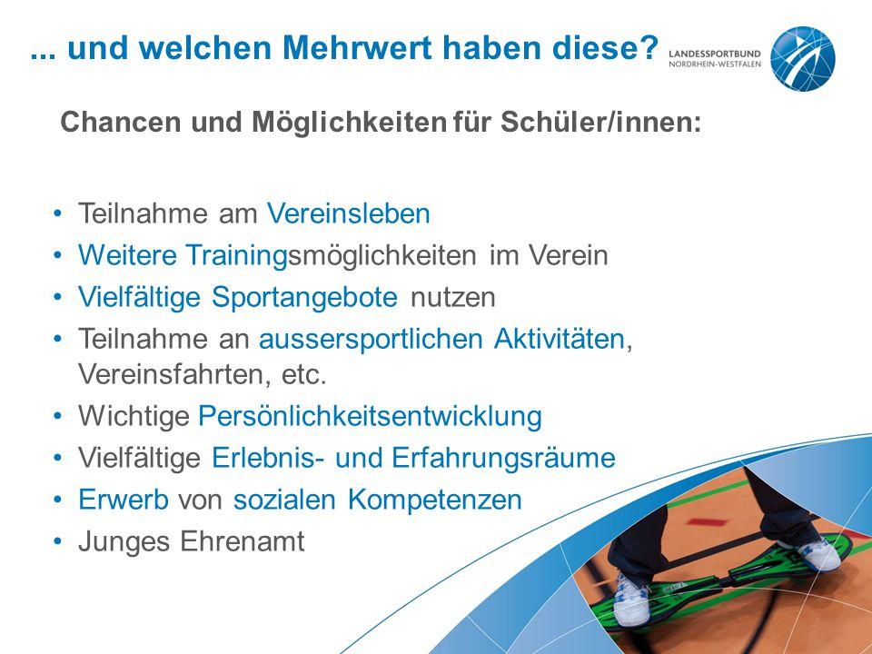 ... und welchen Mehrwert haben diese? Teilnahme am Vereinsleben Weitere Trainingsmöglichkeiten im Verein Vielfältige Sportangebote nutzen Teilnahme an