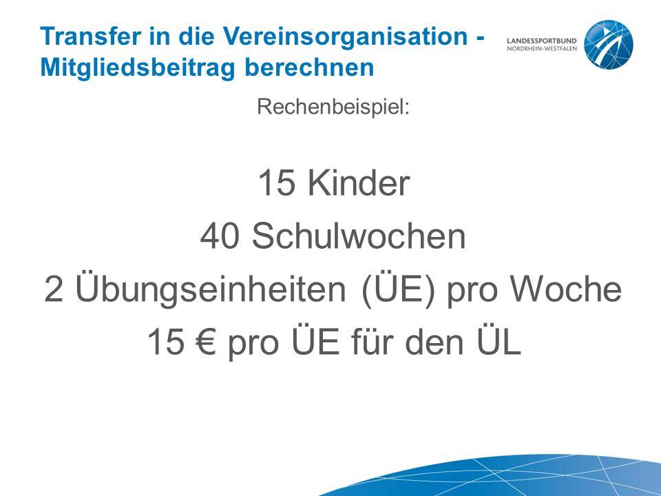 Transfer in die Vereinsorganisation - Mitgliedsbeitrag berechnen Rechenbeispiel: 15 Kinder 40 Schulwochen 2 Übungseinheiten (ÜE) pro Woche 15 € pro ÜE