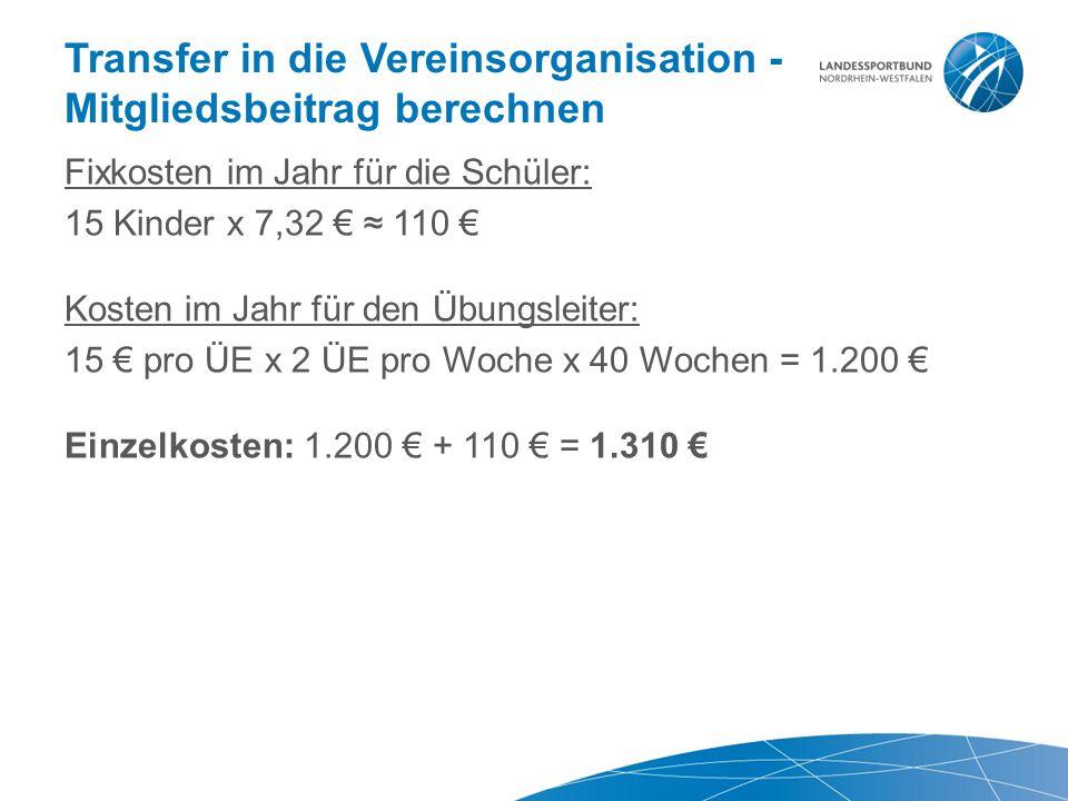 Transfer in die Vereinsorganisation - Mitgliedsbeitrag berechnen Fixkosten im Jahr für die Schüler: 15 Kinder x 7,32 € ≈ 110 € Kosten im Jahr für den