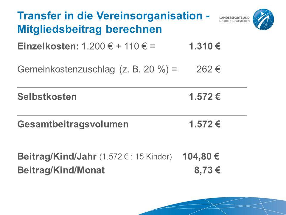 Transfer in die Vereinsorganisation - Mitgliedsbeitrag berechnen Einzelkosten: 1.200 € + 110 € = 1.310 € Gemeinkostenzuschlag (z. B. 20 %) = 262 € ___