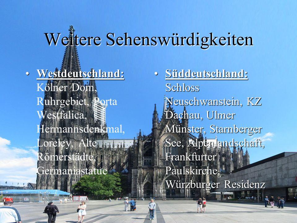 Weitere Sehenswürdigkeiten Westdeutschland:Westdeutschland: Kölner Dom, Ruhrgebiet, Porta Westfalica, Hermannsdenkmal, Loreley, Alte Römerstädte, Germ