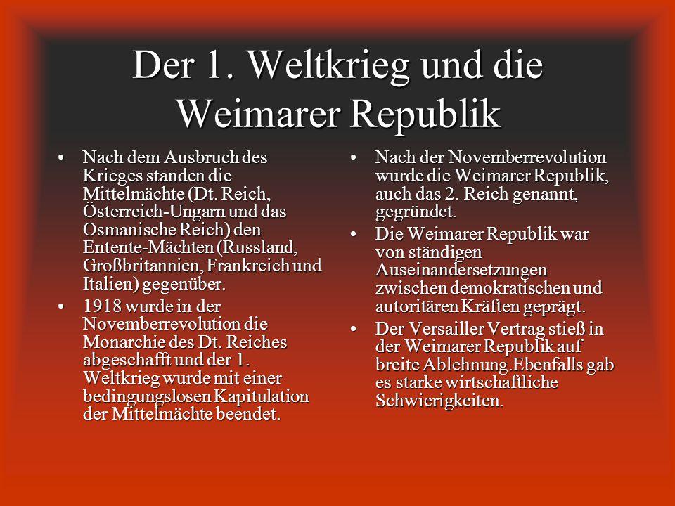 Der 1. Weltkrieg und die Weimarer Republik Nach dem Ausbruch des Krieges standen die Mittelmächte (Dt. Reich, Österreich-Ungarn und das Osmanische Rei