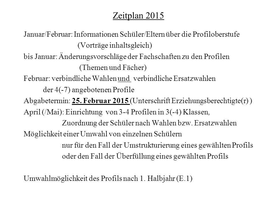 Zeitplan 2015 Januar/Februar: Informationen Schüler/Eltern über die Profiloberstufe (Vorträge inhaltsgleich) bis Januar: Änderungsvorschläge der Fachs