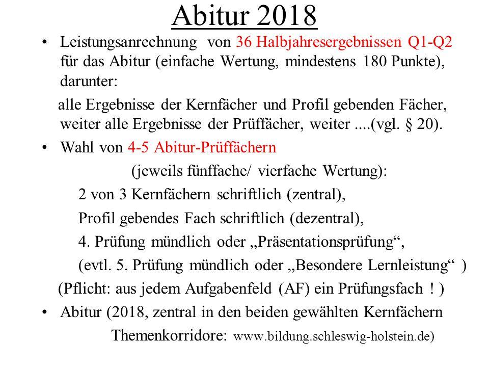 Abitur 2018 Leistungsanrechnung von 36 Halbjahresergebnissen Q1-Q2 für das Abitur (einfache Wertung, mindestens 180 Punkte), darunter: alle Ergebnisse