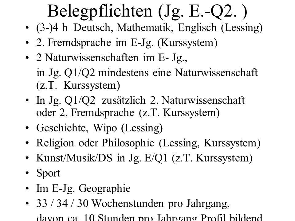 Belegpflichten (Jg. E.-Q2. ) (3-)4 h Deutsch, Mathematik, Englisch (Lessing) 2. Fremdsprache im E-Jg. (Kurssystem) 2 Naturwissenschaften im E- Jg., in