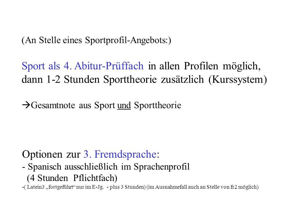 Bsp: Naturwissenschaftliches Profil mit Physik: Verkehr und Sicherheit Jahrgang E.1 E Q1 Q2 Deutsch 3 4 4 Englisch 3 4 4 2.