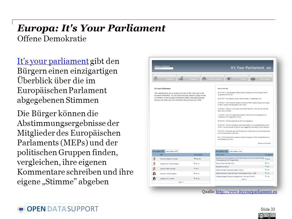 """Europa: It s Your Parliament Offene Demokratie It's your parliamentIt's your parliament gibt den Bürgern einen einzigartigen Überblick über die im Europäischen Parlament abgegebenen Stimmen Die Bürger können die Abstimmungsergebnisse der Mitglieder des Europäischen Parlaments (MEPs) und der politischen Gruppen finden, vergleichen, ihre eigenen Kommentare schreiben und ihre eigene """"Stimme abgeben Slide 33 Quelle: http://www.itsyourparliament.euhttp://www.itsyourparliament.eu"""