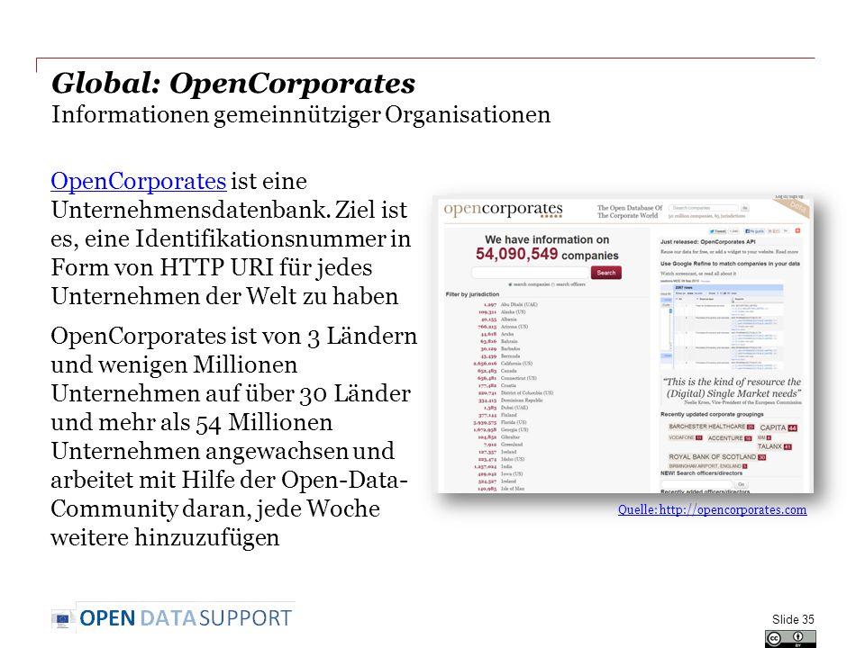 Global: OpenCorporates Informationen gemeinnütziger Organisationen OpenCorporatesOpenCorporates ist eine Unternehmensdatenbank. Ziel ist es, eine Iden